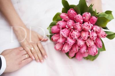 Pink tulipán menyasszonyi csokor